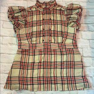 Juicy Couture pintuck plaid blouse. Sz 4